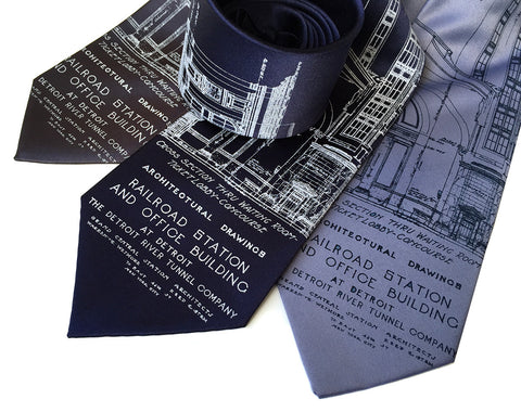 Detroit Blueprint Necktie, Train Station, Cyberoptix Tie Lab