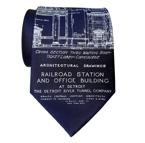 Navy Blue Detroit Blueprint Tie, MCS Train Station Necktie. Cyberoptix Tie Lab