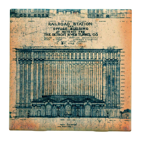 Detroit Train Station Blueprint Old Paper Drink Coaster, Well Done Goods