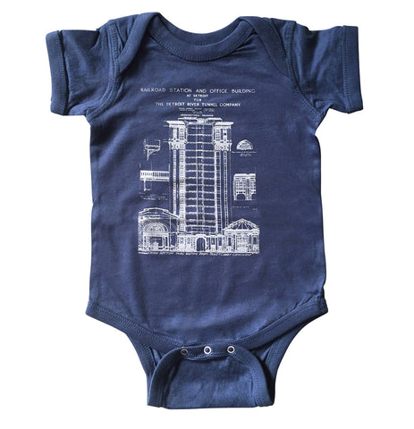 Blueprint Baby Onesie, MCS Detroit Train Station, Well Done Goods