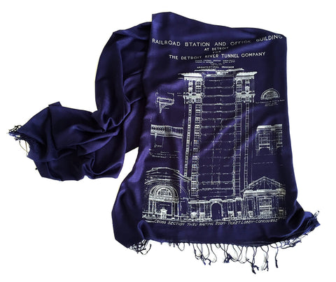 Navy Blue Detroit Blueprint Scarf, MCS Train Station. By Cyberoptix