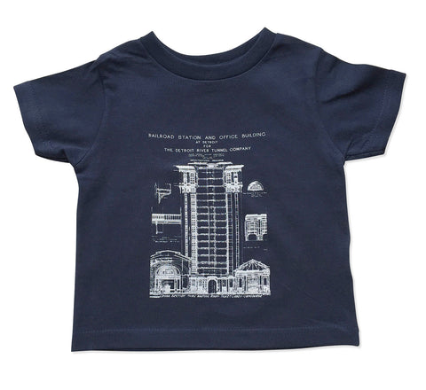 Blueprint Toddler T-Shirt, MCS Detroit Train Station, Well Done Goods