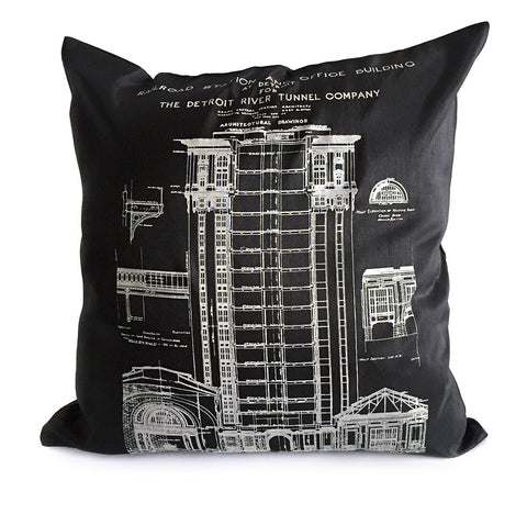 Detroit Train Station Throw Pillow, Black and white. Well Done Goods