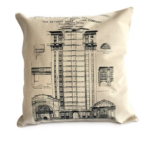 MCS Detroit Train Station Throw Pillow, Natural Cotton