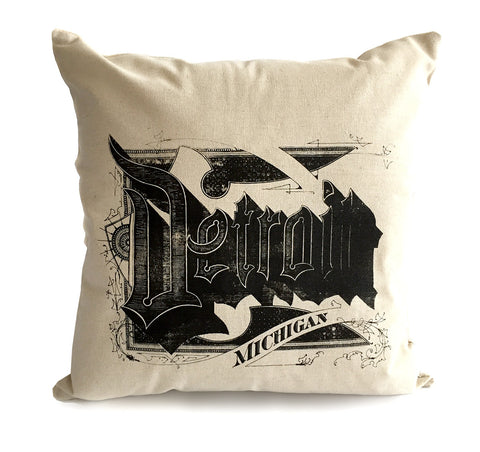 Detroit Print Throw Pillow, silkscreened cotton. Well Done Goods by Cyberoptix