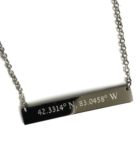 Detroit GPS Coordinates Necklace, Laser Engraved Stainless Steel