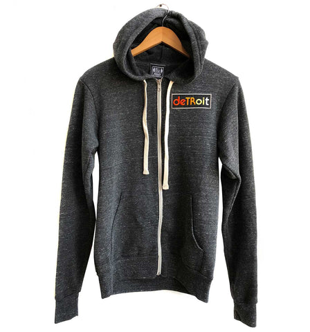 Detroit Rhythm Composer Patch Zip Hoodie, charcoal grey. Unisex, Vintage Style, Well Done Goods