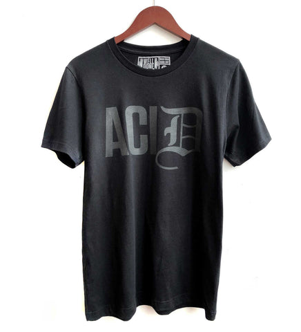 Detroit ACID T-Shirt, Old English D. Dark black pearl on black. Well Done Goods