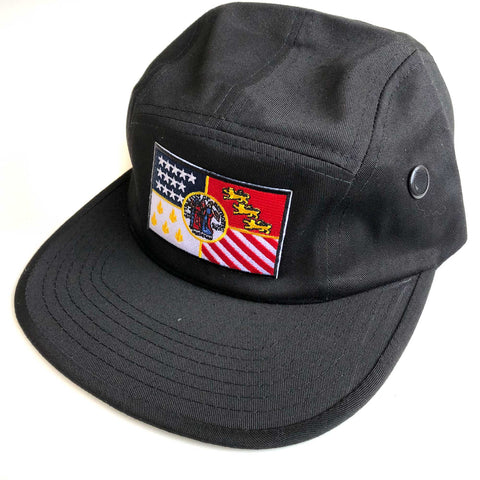 Detroit City Flag 5 Panel Hat, Military Style Cap. Black