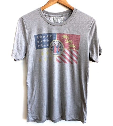 Detroit City Flag Vintage Style T-Shirt, Athletic Grey. Well Done Goods