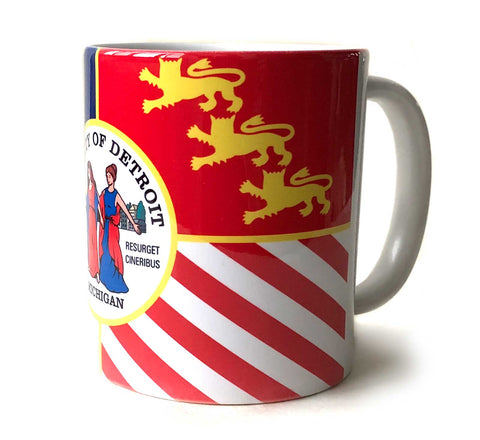 Detroit City Flag Mug, Full Color Ceramic Coffee Cup. Well Done Goods