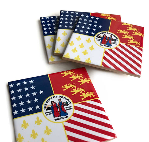 Detroit City Flag Decorative Tiles, Ceramic Drink Coasters. Well Done Goods