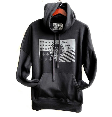 Detroit Flag Pullover Hoodie, Black pearl on black. Well Done Goods