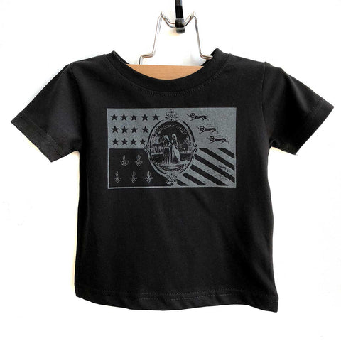 Detroit City Flag Infant & Toddler T-Shirts, 1940s Flag - Black on Black. Well Done Goods