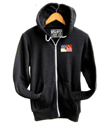 Detroit City Flag Patch Zip Hoodie, Unisex Sweatshirt, Black.  Well Done Goods