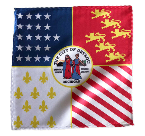 Modern Detroit City Flag Pocket Square, Well Done Goods