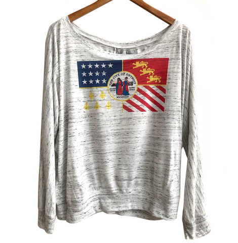 Detroit City Flag Women's Long Sleeve Dolman Shirt, Well Done Goods