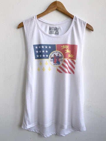 Detroit City Flag Tank Top. Vintage Style Women's Flowy Muscle Tank