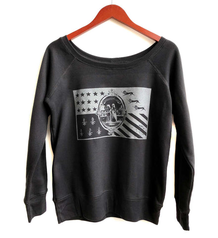 Detroit Flag Women's Wide Neck Sweatshirt, Black. Well Done Goods