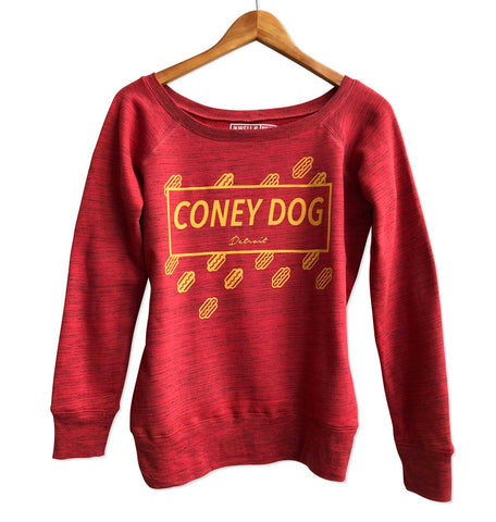 Coney Dog Party Women's Wide Neck Sweatshirt. Mustard on Red Marble, Well Done Goods