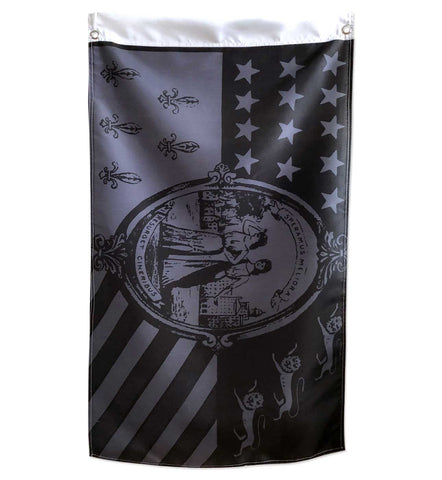 Detroit City Flags, 1940s Monochrome Black & Grey, 2x3