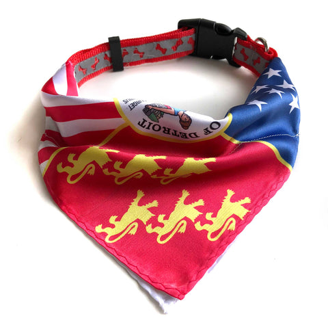 Detroit Flag Bandana Dog Collars