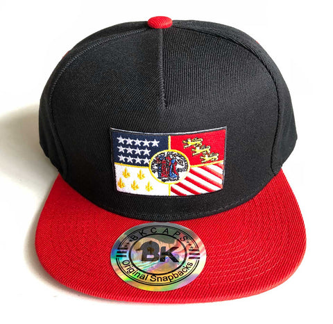 Detroit City Flag Snapback Hat, Red and Black. Well Done Goods