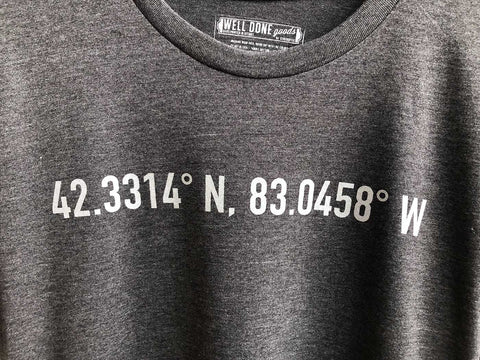 t shirts tagged detroit latitude longitude well done goods by cyberoptix tagged detroit latitude longitude