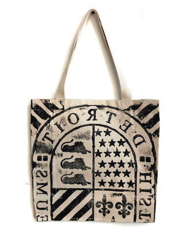 Detroit Historical Museum Manhole Tote Bag, Natural Cotton Canvas