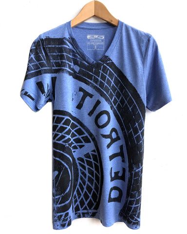 Detroit Manhole T-Shirt. Tire Print, heather blue triblend. Well Done Goods