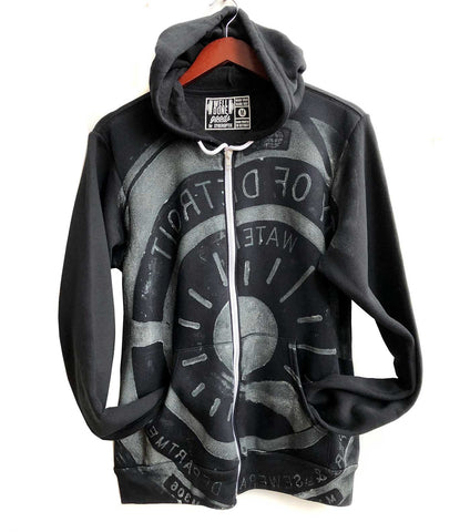 Manhole Cover Print Zip Hoodie, Spirit of Detroit. Dove grey on black. Well Done Goods