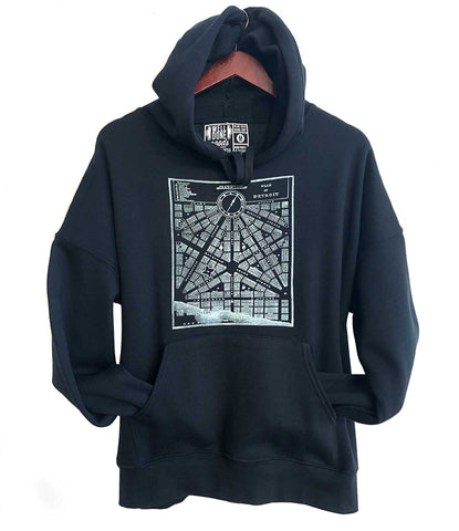 Detroit Map Pullover Hoodie, 1800 City Plan Unisex Hooded Black Sweatshirt.