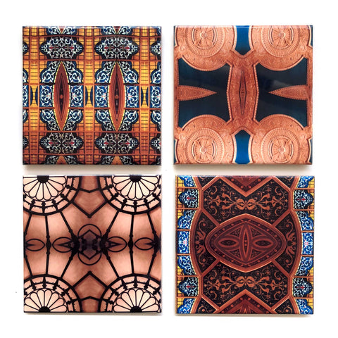 Detroit Opera House Decorative Tiles, Ceramic Drink Coasters