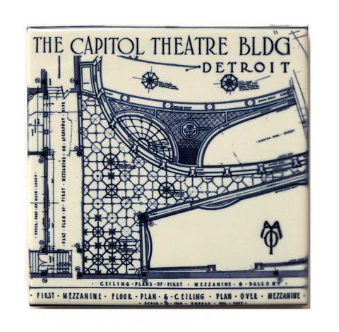 Capitol Theatre Blueprint Decorative Tile, Ceramic Drink Coaster
