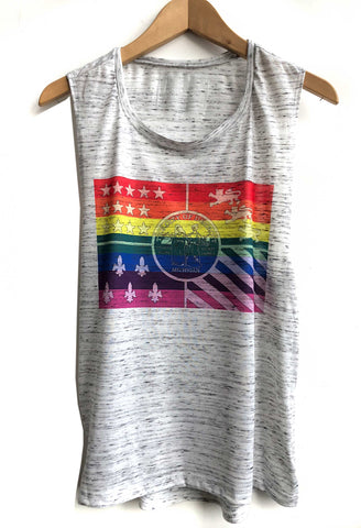 Detroit PRIDE Flag Muscle Tank. City of Detroit Rainbow flag tank top