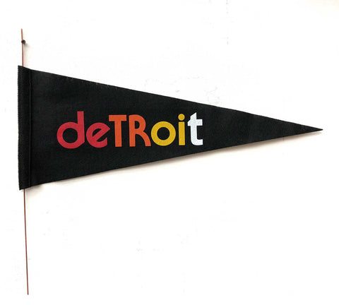 Vintage Style Detroit Felt Pennant Flag, 4 color on black. Well Done Goods
