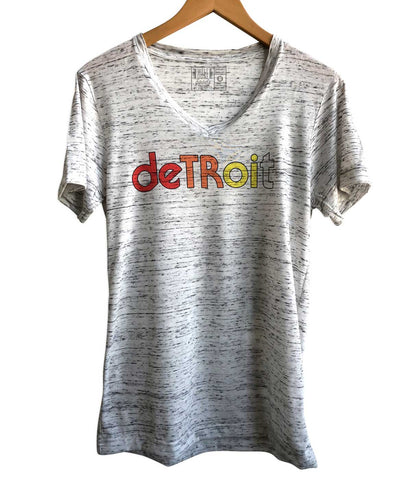 Detroit Rhythm Composer White Marble V-Neck Tee, Well Done Goods