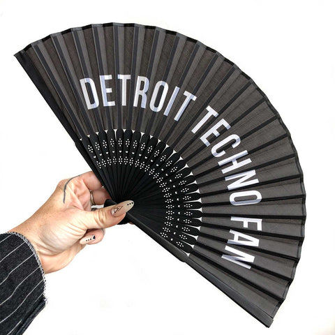 Detroit Techno Fan, printed silk hand fan by Well Done Goods