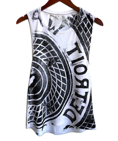 Manhole Cover Tank Top, Detroit Tire Print. Women's Flowy Muscle Tank. Black print on white