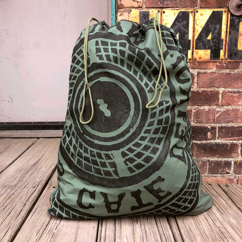 Manhole Cover Laundry Bag, Detroit Tire Print. 100% Cotton, Military Green