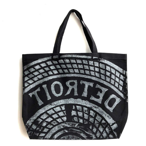 Manhole Cover Large Tote Bag, Detroit Tire Print. Heavy Cotton Canvas, Black