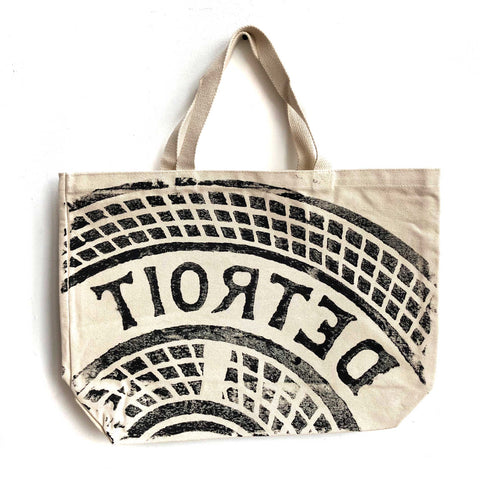 Manhole Cover Large Tote Bag, Detroit Tire Print. Natural Heavy Cotton Canvas