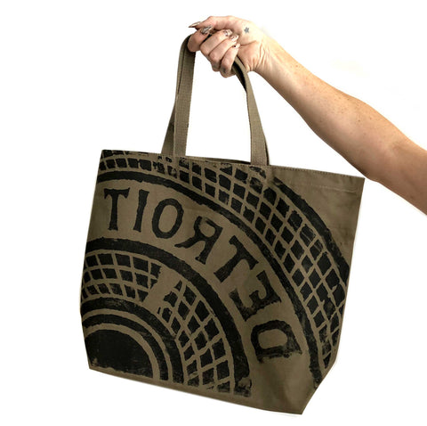 Manhole Cover Tote Bag, Detroit Tire Print. Heavy Cotton Canvas, Military Green