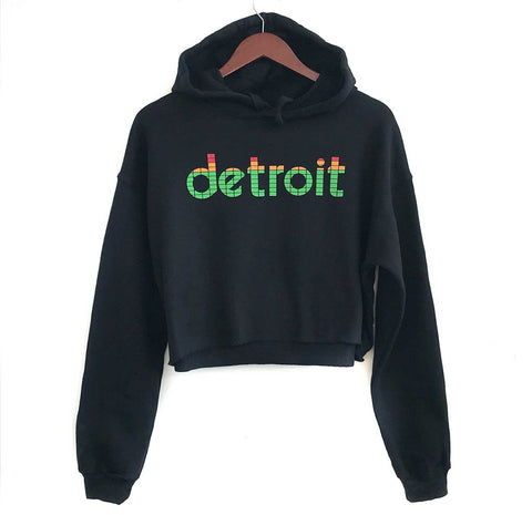 Peak Detroit, LED Audio Level Meter Women's Cropped Pullover Hoodie. Well Done Goods