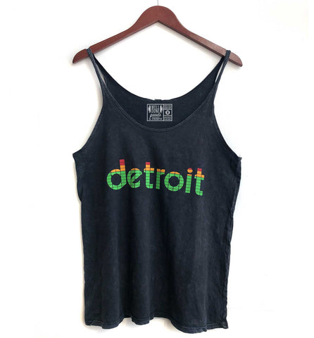 Peak Detroit Black Acid Washed Tank, LED Audio Level Meter Women's Slouchy Top