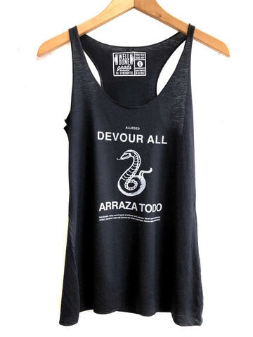 Devour All, Snake Print Hoodoo Candle. Tank Top, Women's Racerback Black Tank