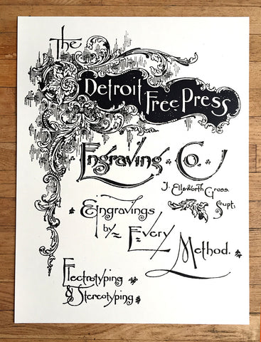 "Detroit Free Press Silkscreened Poster, Vintage Ad 19""x 25"""