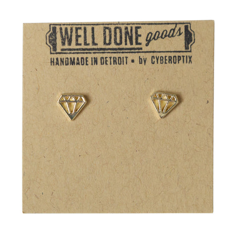 Diamond Outline Gold Stud Earrings, Well Done Goods