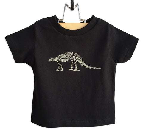 Dinosaur Skeleton Black Toddler T-Shirt, Well Done Goods