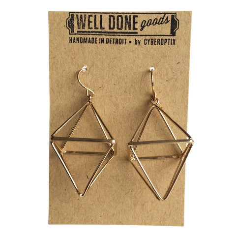 Short Double Pyramid 3D Gold Dangle Earrings, Well Done Goods